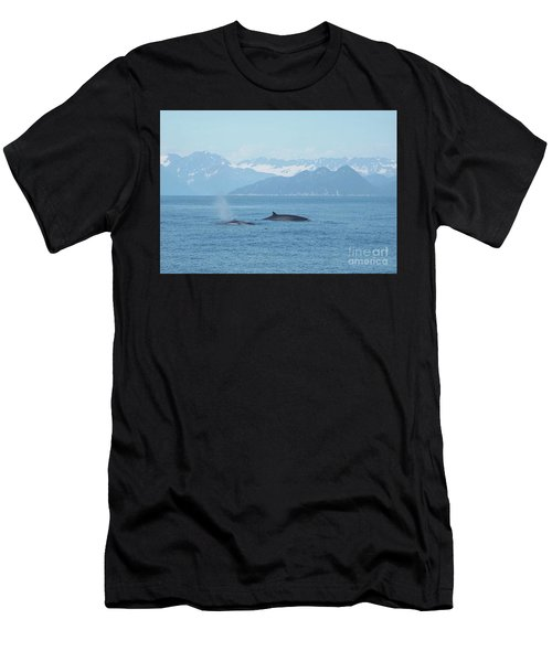 Men's T-Shirt (Athletic Fit) featuring the photograph Alaska Finback Whales by Barbara Von Pagel