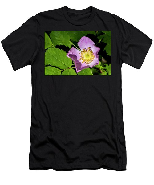 Men's T-Shirt (Slim Fit) featuring the photograph Alberta Wild Rose Opens For Early Sun by Darcy Michaelchuk