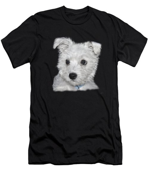 Alert Puppy On A Transparent Background Men's T-Shirt (Athletic Fit)