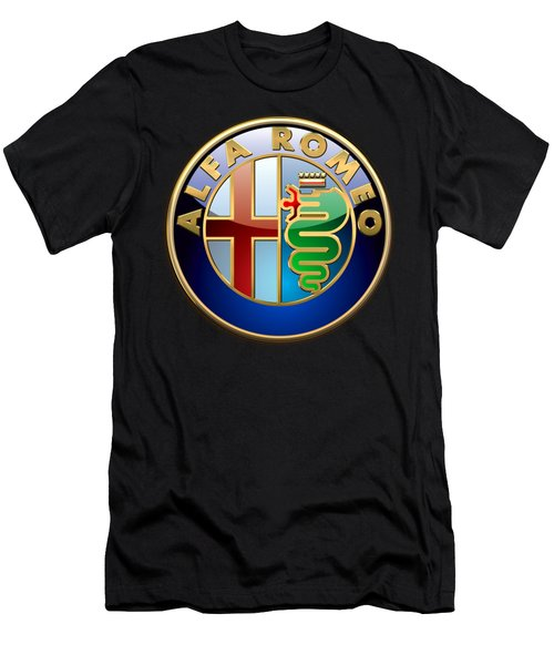 Alfa Romeo - 3 D Badge On Black Men's T-Shirt (Athletic Fit)
