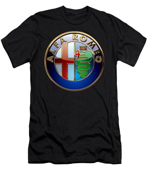 Alfa Romeo  - 3d Badge On Black Men's T-Shirt (Slim Fit) by Serge Averbukh