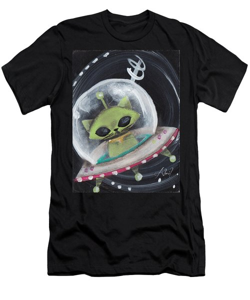 Alien Green Space Cat Men's T-Shirt (Slim Fit) by Abril Andrade Griffith