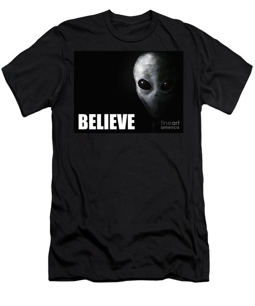 Alien Grey - Believe Men's T-Shirt (Athletic Fit)