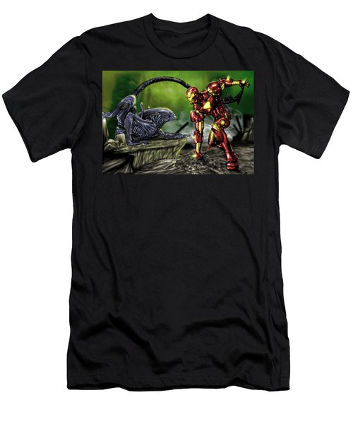 Alien Vs Iron Man Men's T-Shirt (Athletic Fit)