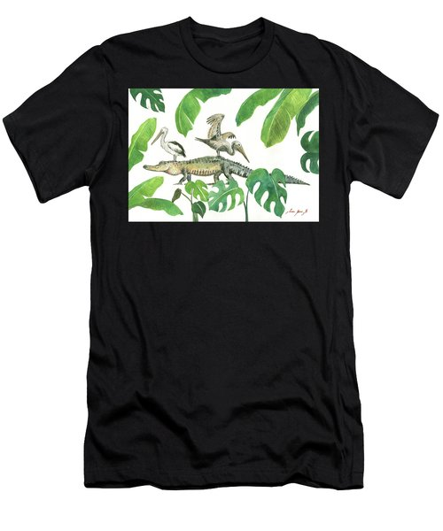 Alligator And Pelicans Men's T-Shirt (Athletic Fit)