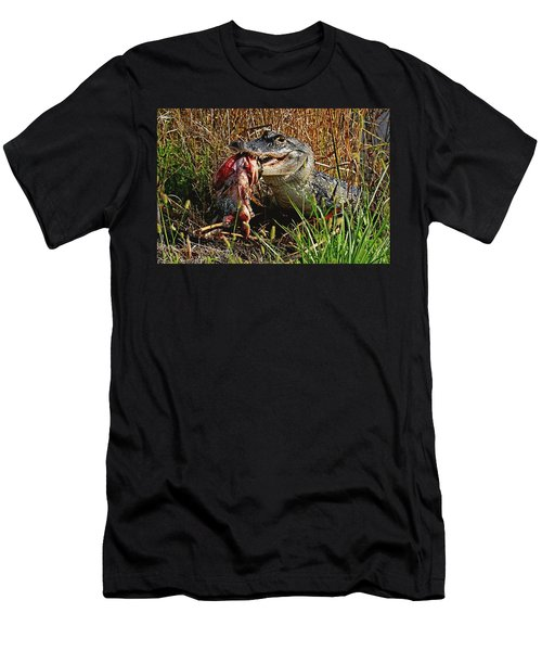 Alligator Eating A Fish Men's T-Shirt (Athletic Fit)