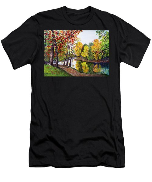 Men's T-Shirt (Athletic Fit) featuring the painting Along The Blanchard by Nancy Cupp