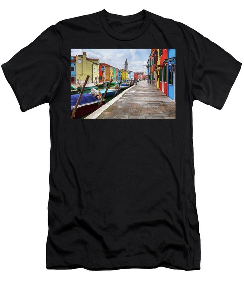 Along The Canal In Burano Island Men's T-Shirt (Athletic Fit)