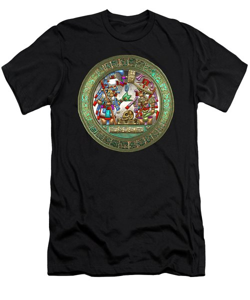 Altar 5 From Tikal - Mayan Nobles Performing A Ritual - On Brown Leather  Men's T-Shirt (Athletic Fit)