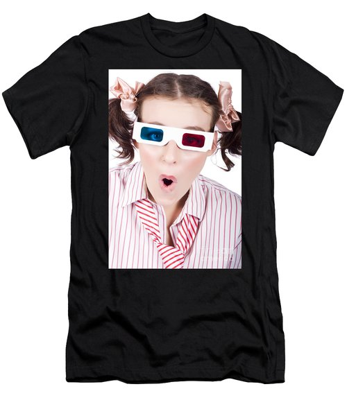 Amazed Woman Watching 3d Movie In Glasses Men's T-Shirt (Athletic Fit)