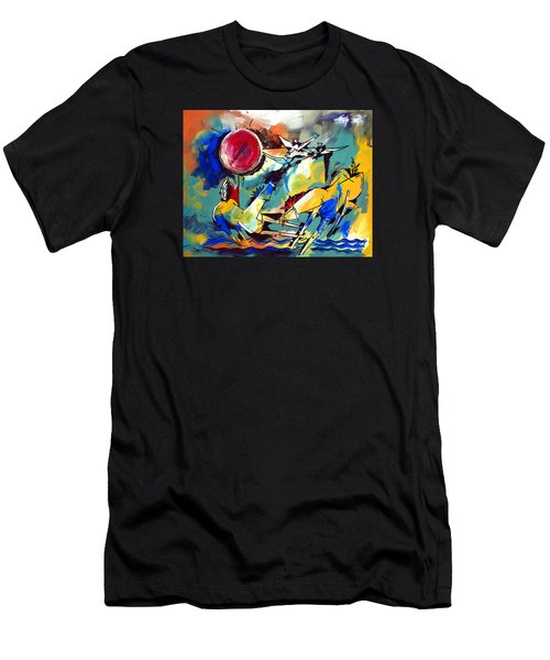 Ameeba 35-horses By The Sea Men's T-Shirt (Athletic Fit)