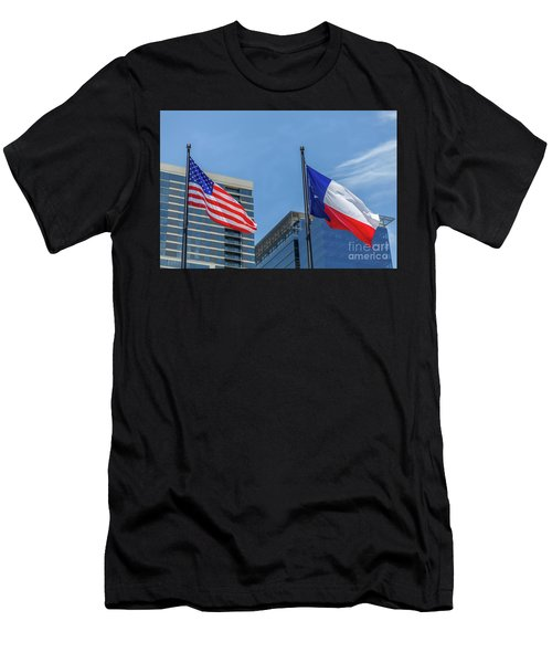 American And Texas Flag On Top Of The Pole Men's T-Shirt (Athletic Fit)