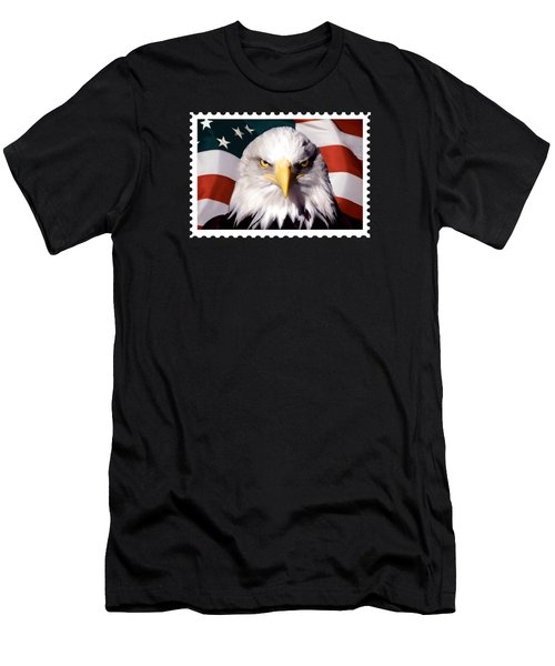 American Bald Eagle And Flag Men's T-Shirt (Athletic Fit)