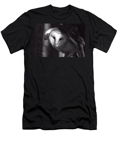 American Barn Owl Monochrome Men's T-Shirt (Athletic Fit)