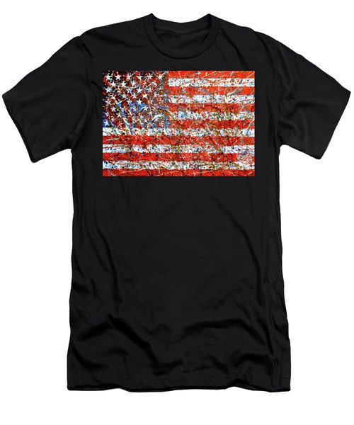 American Flag Abstract 2 With Trees  Men's T-Shirt (Athletic Fit)