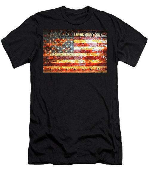 American Flag On Rusted Riveted Metal Door Men's T-Shirt (Athletic Fit)