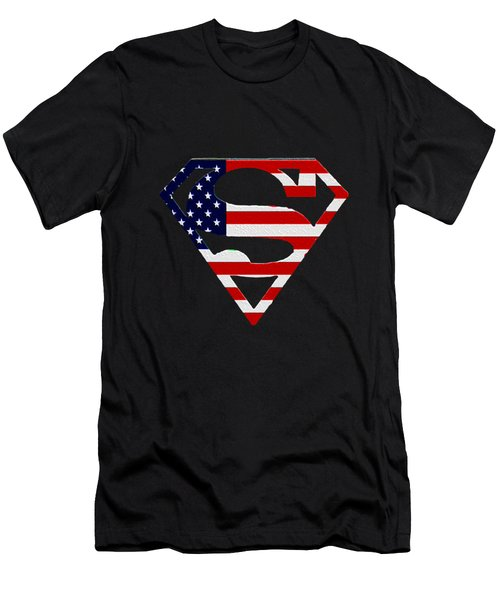 American Flag Superman Shield Men's T-Shirt (Athletic Fit)