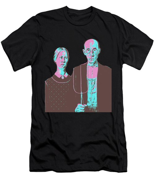 American Gothic Grant Wood Pop Art Tee Men's T-Shirt (Athletic Fit)