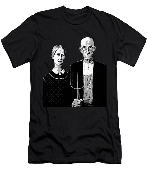 American Gothic Graphic Grant Wood Black White Tee Men's T-Shirt (Athletic Fit)
