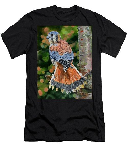 American Kestrel In My Garden Men's T-Shirt (Slim Fit) by Phyllis Beiser