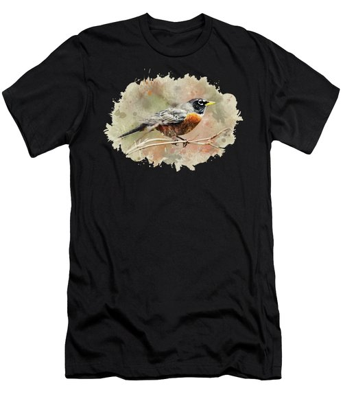 American Robin - Watercolor Art Men's T-Shirt (Athletic Fit)