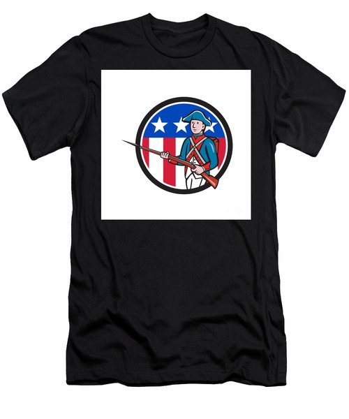 American Soldier Marching Rifle Usa Flag Circle Cartoon Men's T-Shirt (Athletic Fit)