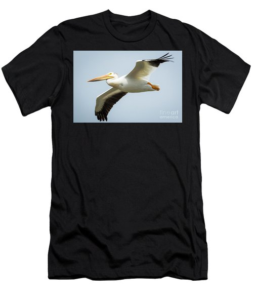 American White Pelican Flyby  Men's T-Shirt (Athletic Fit)