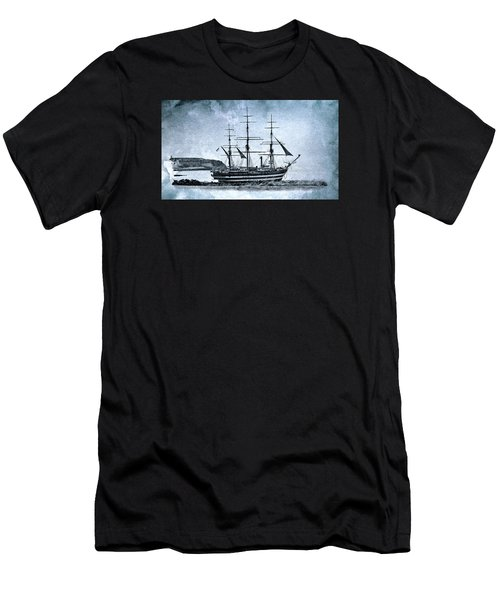 Amerigo Vespucci Sailboat In Blue Men's T-Shirt (Athletic Fit)
