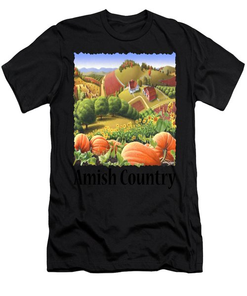 Amish Country - Pumpkin Patch Country Farm Landscape Men's T-Shirt (Athletic Fit)