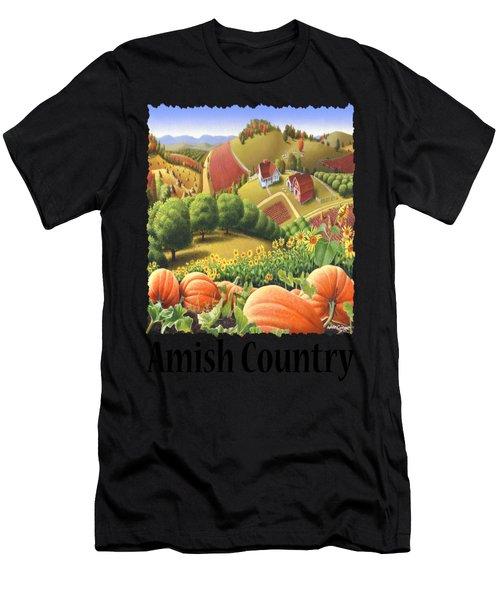 Amish Country - Pumpkin Patch Country Farm Landscape Men's T-Shirt (Athletic Fit)