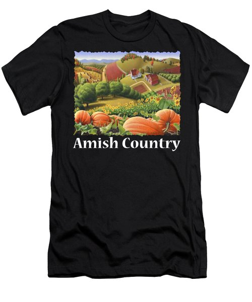 Amish Country T Shirt - Pumpkin Patch Country Farm Landscape 2 Men's T-Shirt (Athletic Fit)