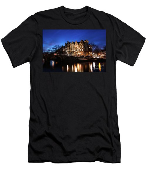 Men's T-Shirt (Athletic Fit) featuring the photograph Amsterdam Canal Houses Illuminated At Dusk by IPics Photography