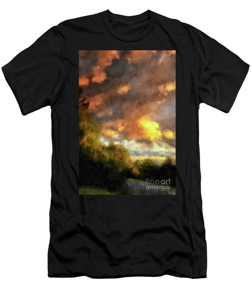 Men's T-Shirt (Athletic Fit) featuring the digital art An August Sunset by Lois Bryan