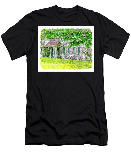 Men's T-Shirt (Athletic Fit) featuring the digital art An English Cottage by Anthony Murphy