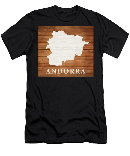 Andorra Rustic Map On Wood Men's T-Shirt (Athletic Fit)