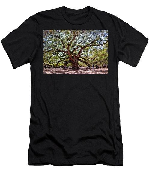 Angel Oak Tree 009 Men's T-Shirt (Slim Fit) by George Bostian