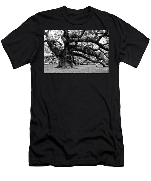 Angel Oak Tree 2009 Black And White Men's T-Shirt (Athletic Fit)