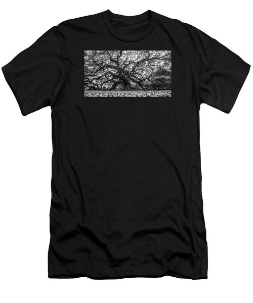 Angel Oak Tree Black And White  Men's T-Shirt (Athletic Fit)