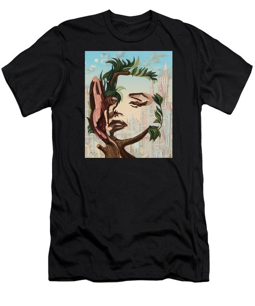 Angel, Watching The Reincarnation Of Marilyn Monroe On The Swinging City Towers Men's T-Shirt (Athletic Fit)
