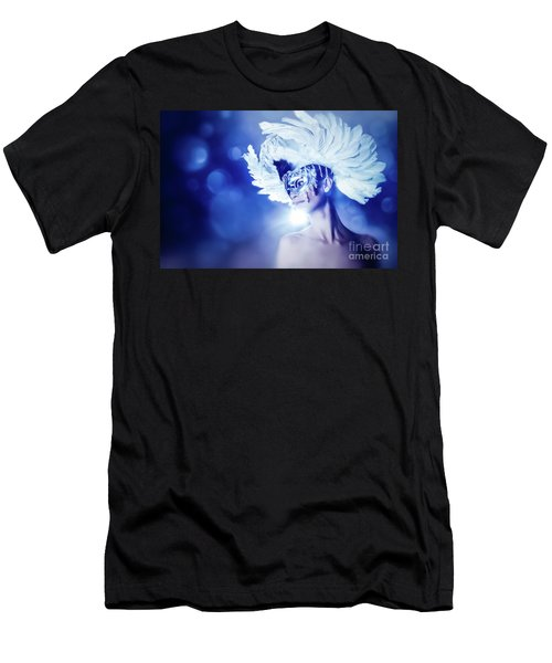 Men's T-Shirt (Athletic Fit) featuring the photograph Angel Wings Venetian Mask With Feathers Portrait by Dimitar Hristov