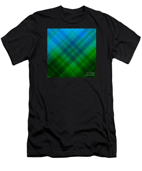 Angled Blue Green Plaid Men's T-Shirt (Athletic Fit)