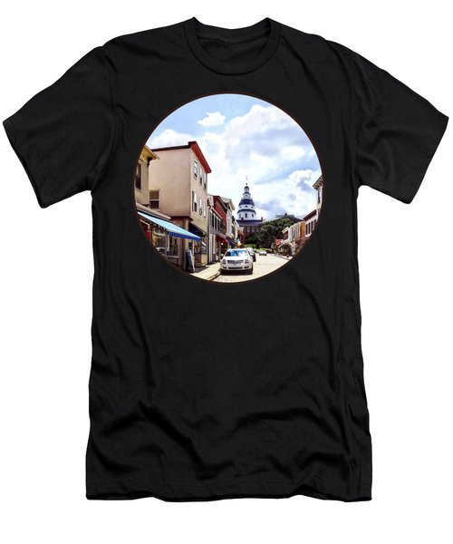 Annapolis Md - Shops On Maryland Avenue And Maryland State House Men's T-Shirt (Athletic Fit)
