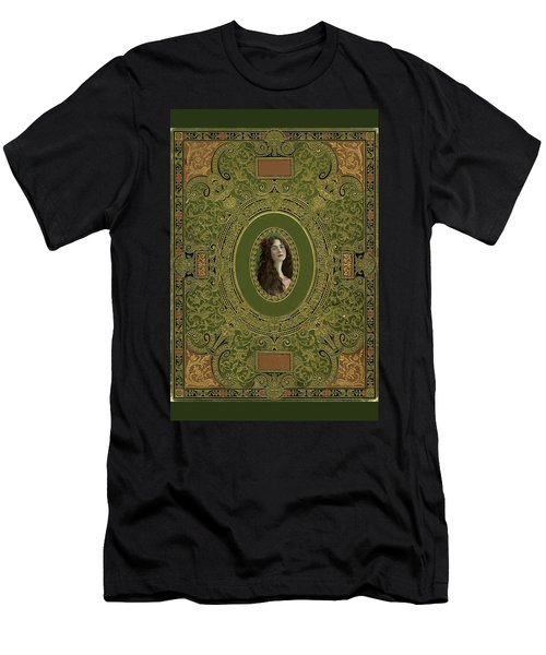 Antique Book Cover With Cameo - Green And Gold Men's T-Shirt (Slim Fit) by Peggy Collins