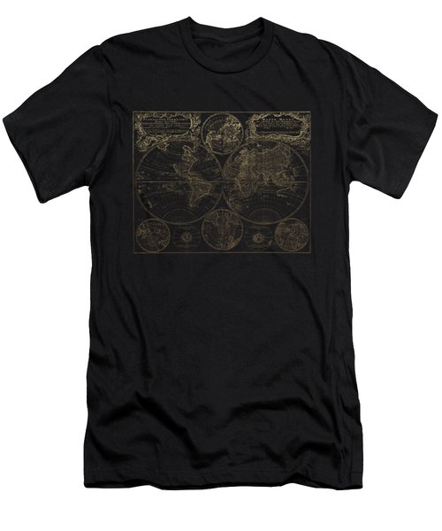 Antique Map Of The World - Gold On Black Canvas Men's T-Shirt (Athletic Fit)