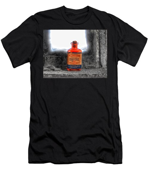 Men's T-Shirt (Athletic Fit) featuring the photograph Antique Mercurochrome Hynson Westcott And Dunning Inc. Medicine Bottle - Maryland Glass Corporation by Marianna Mills