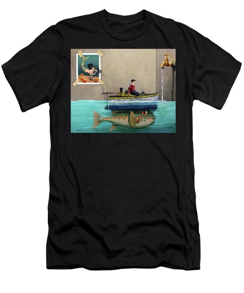 Anyfin Is Possible - Fisherman Toy Boat And Mermaid Still Life Painting Men's T-Shirt (Athletic Fit)