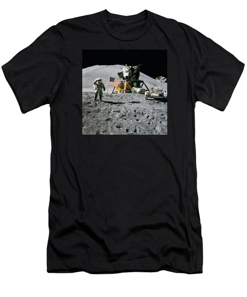 Men's T-Shirt (Athletic Fit) featuring the pyrography Apollo 15 Lunar Module Pilot James Irwin Salutes The U.s. Flag by Artistic Panda