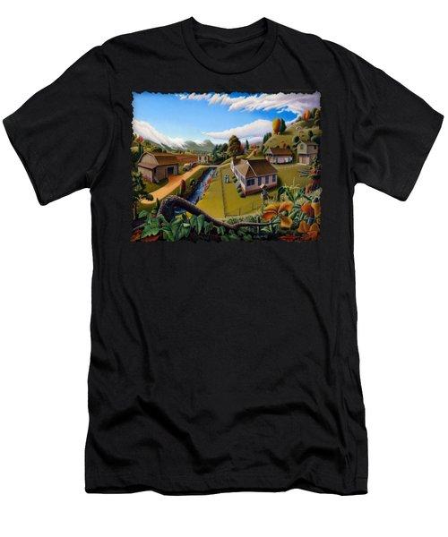 Appalachia Summer Farming Landscape - Appalachian Country Farm Life Scene - Rural Americana Men's T-Shirt (Athletic Fit)