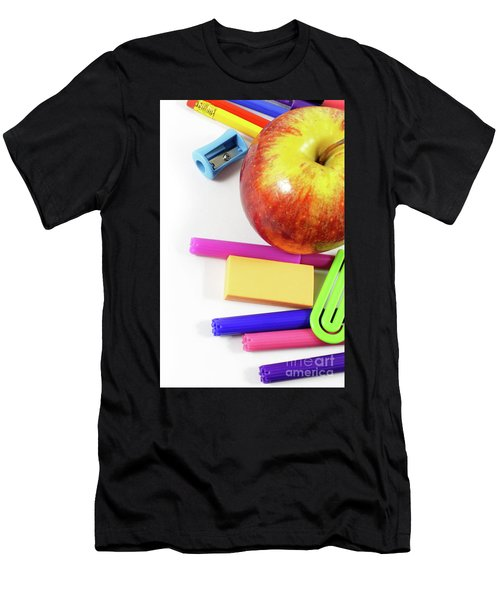 Apple And School Supplies In Close-up View On White Background Men's T-Shirt (Athletic Fit)