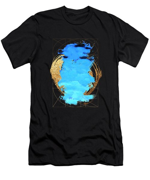 Men's T-Shirt (Slim Fit) featuring the digital art Aqua Gold No. 1 by Serge Averbukh
